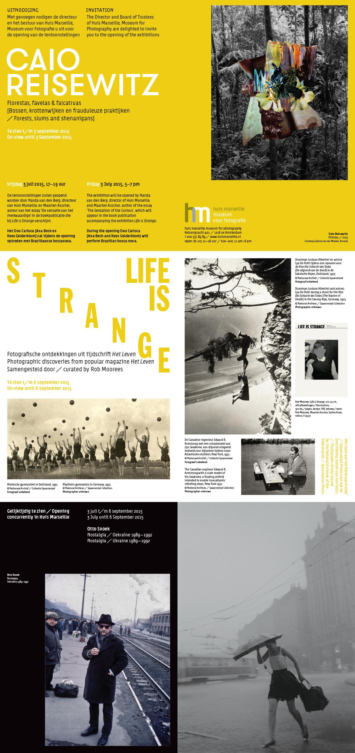 Huis Marseille Uitnodiging Caio Reisewitz, Otto Snoek, Life is Strange - 3 juli 2015